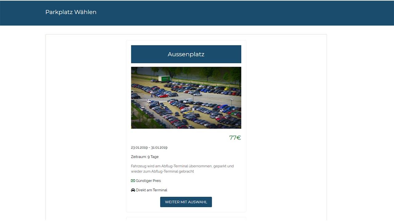 Buchungssystem Parkplatz wählen