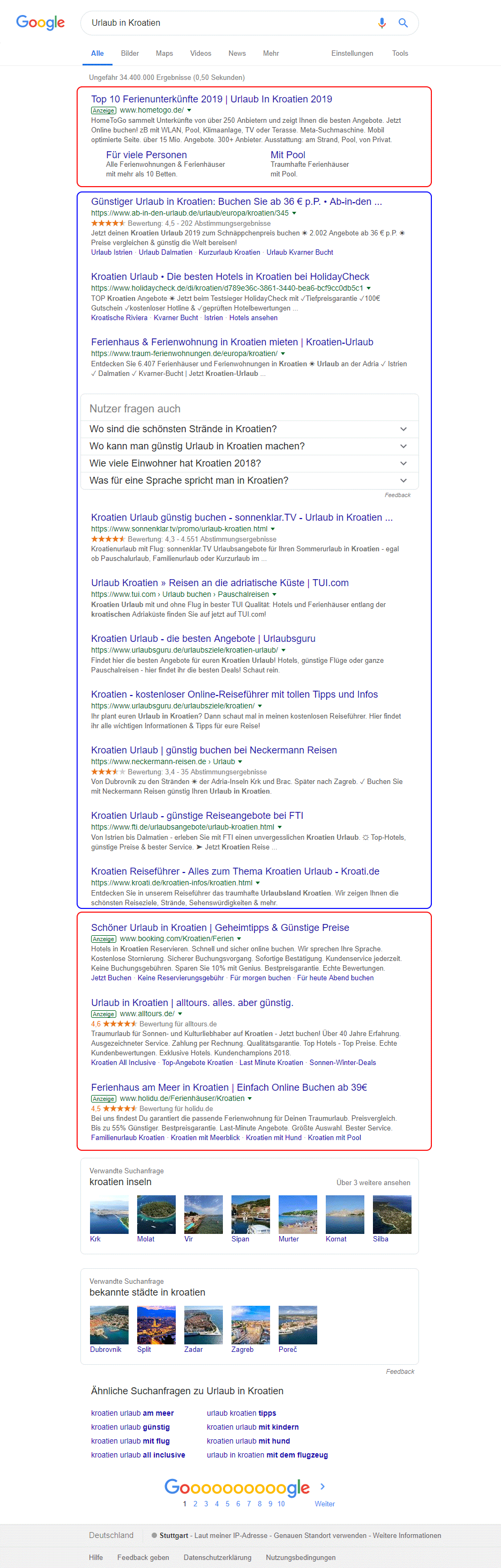 """Suchergebnisse """"Urlaub in Kroatien"""" Google"""